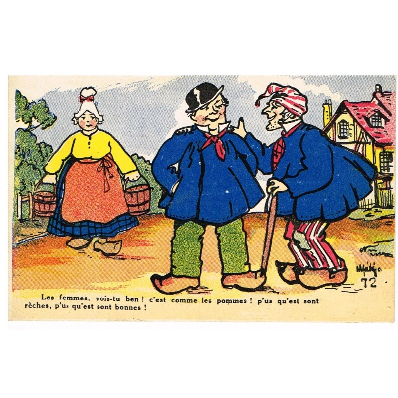CARTE POSTALE HUMOUR NORMAND SIGNEE.