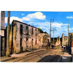 cp87-oradour-sur-glane-la-rue-principale-du-bourg-martyr