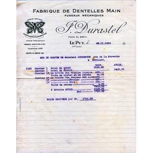 FACTURE DE FABRIQUE DE DENTELLES MAIN