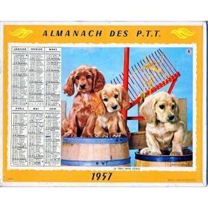 CALENDRIER ALMANACH 1957 - CHIENS ET CHATS