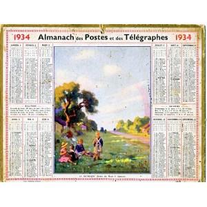 CALENDRIER ALMANACH 1934 LA DETOURBE