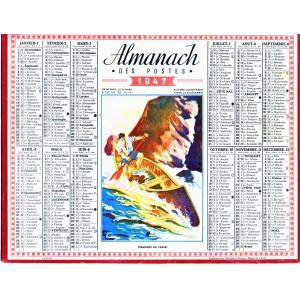 CALENDRIER ALMANACH 1947 DESCENTE EN CANOE