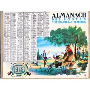 CALENDRIER ALMANACH 1948 SCENE DE CHASSE