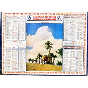 CALENDRIER ALMANACH 1950 PAYSAGE TUNISIEN