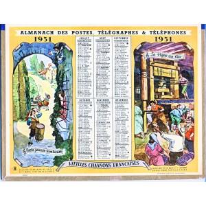 CALENDRIER ALMANACH 1951 VIEILLES CHANSONS FRAN9AISES