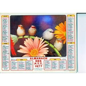CALENDRIER ALMANACH 1977 FRUITS ET FLEURS - OISEAUX