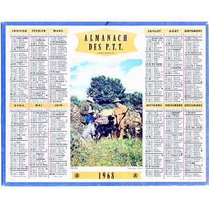 CALENDRIER ALMANACH 1968  PAUSE (CHASSEURS)