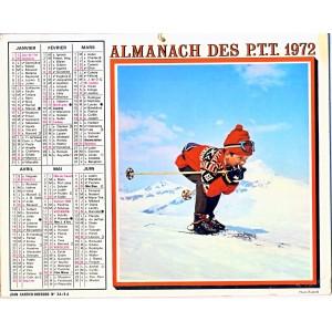 CALENDRIER ALMANACH 1972 JEUNE SKIEUR ET A LA PLAGE