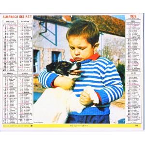CALENDRIER ALMANACH 1976 ENFANT ET CHIEN - OSEAU