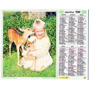 CALENDRIER ALMANACH 1990 FILLETTE ET FAONS - ENFANT ET POUSSINS