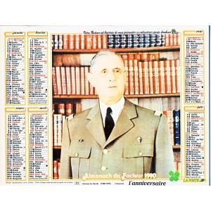 CALENDRIER ALMANACH 1990 GENERAL DE GAULLE