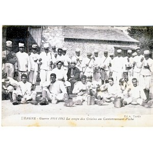 CP13 AUBAGNE - GUERRE 1914 1915 - LA SOUPE DES CREOLES AU CANTONNEMENT PICHE
