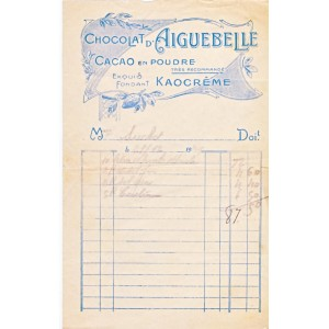 FACTURE CHOCOLAT D'AIGUEBELLE