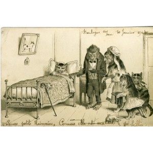 CARTE POSTALE ANCIENNE GAUFREE CHATS HUMANISES
