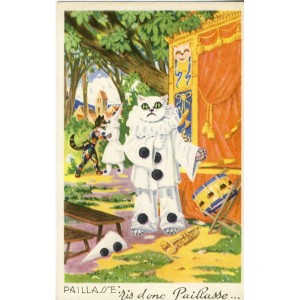 CARTE POSTALE CHAT HUMANISE PAILLASSE
