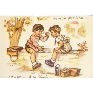 CARTE POSTALE GERMAINE BOURET - ON FAIT UNE PETITE BELOTE