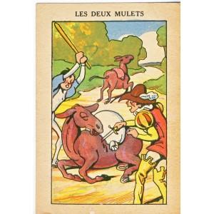 CARTE CHROMO PUBLICITAIRE - LES DEUX MULETS