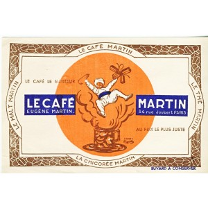 BUVARD LE CAFE, LA CHICOREE, LE MALT, LE THE MARTIN - GENIE SORTANT DU CAFE