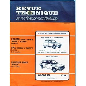 REVUE TECHNIQUE AUTOMOBILE JUI-AOUT 1978 N° 380