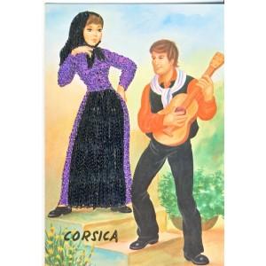 CARTE POSTALE BRODEE COUPLE CORSICA