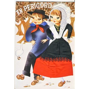 "CARTE POSTALE BRODEE-HABILLEE COUPLE ""EN PERIGORD"""