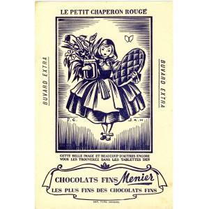 BUVARD CHOCOLATS FINS MENIER LE PETIT CHAPERON ROUGE