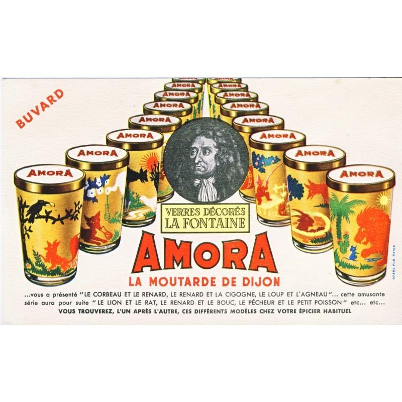 BUVARD MOUTARDE  AMORA - VERRES DECORES LA FONTAINE