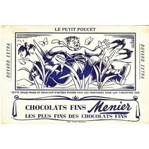 BUVARD CHOCOLATS FINS MENIER LE PETIT POUCET (NOIR)