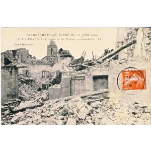 CP13 SAINT CANNAT - TREMBLEMENT DE TERRE DU 11 JUIN 1909 -  LE CLOCHER ET LES FERMES ENVIRONNANTES.