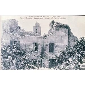 CP13 SAINT CANNAT - TREMBLEMENT DE TERRE DU 11 JUIN 1909 - MAISONS EN RUINES - AU FOND LE CLOCHER