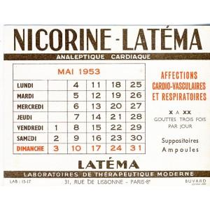 BUVARD NICORINE LATEMA - CALENDRIER MAI 1953