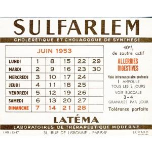 BUVARD NICORINE LATEMA - CALENDRIER JUIN 1953