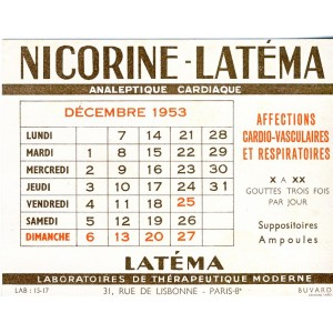 BUVARD NICORINE LATEMA - CALENDRIER DECEMBRE 1953