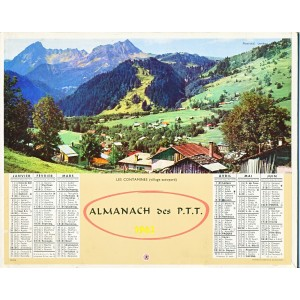 CALENDRIER ALMANACH DES PTT 1962 - LES CONTAMINES - VOILIERS SUR LE LAC