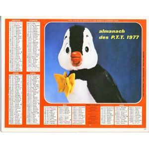CALENDRIER ALMANACH DES PTT 1977 - NESTOR LE PINGOUIN