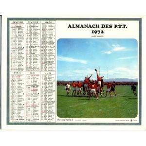 CALENDRIER ALMANACH DES PTT 1972 - RUGBY ET HIPPISME