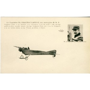 CARTE POSTALE AVIATION - LE CAPITAINE DE CHAUNAC LAUZAC SUR MONOPLAN R.E.P.