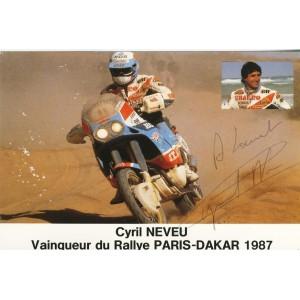 CARTE DEDICACEE MOTO - CYRIL NEVEU VAINQUEUR DU PARIS-DAKAR 1987