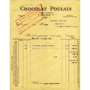 FACTURE CHOCOLAT POULAIN - BLOIS
