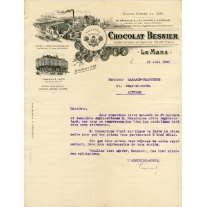 FACTURE CHOCOLAT BESNIER - LE MANS