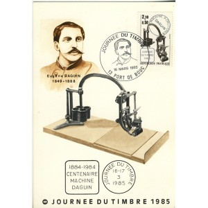 JOURNEE DU TIMBRE 1985 - CENTENAIRE MACHINE DAGUIN