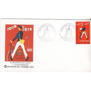 JOURNEE DU TIMBRE 1993 - ENVELOPPE LES METIERS DE LA POSTE - LA DISTRIBUTION DU COURRIER