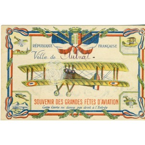CARTE SOUVENIR DES GRANDES FETES D'AVIATION - AULNAT 1934