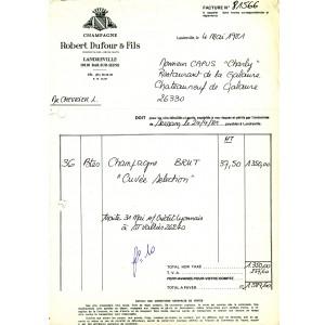 FACTURE CHAMPAGNE ROBERT DUFOUR - LANDREVILLE