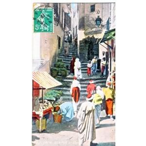 CARTE POSTALE ALGERIE - UNE RUE ARABE ANIMEE