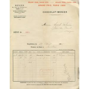 FACTURE CHOCOLAT MENIER PARIS 1906