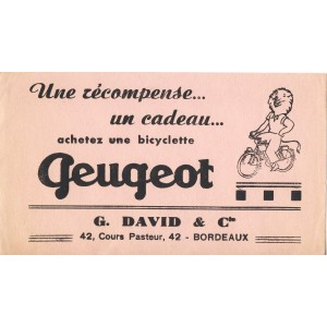 BUVARD BICYCLETTE PEUGEOT - UNE RECOMPENSE... UN CADEAU...