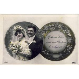 CARTE POSTALE MARIAGE - MEILLEURS VOEUX POUR VOTRE BONHEUR