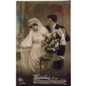 CARTE POSTALE MARIAGE - FELICITATIONS