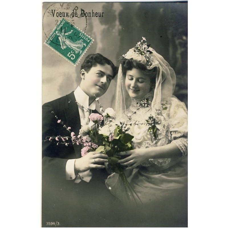 CARTE POSTALE MARIAGE - VOEUX DE BONHEUR